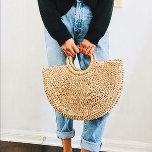 Handmade Rattan Half-moon Bag